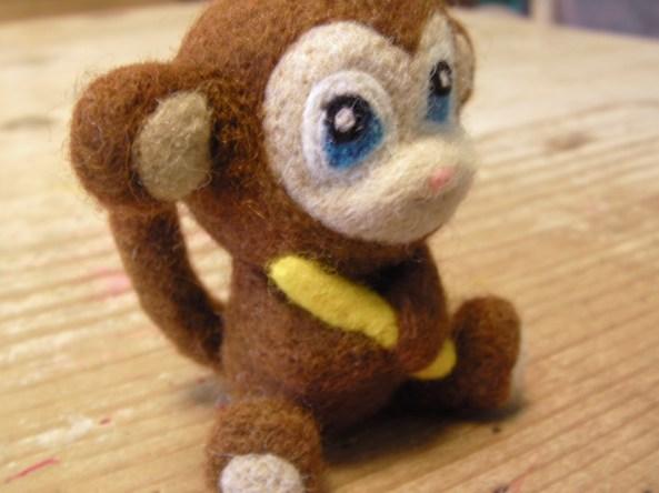 Needle Felted Monkey with Banana