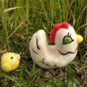 felted hen and chick