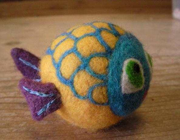 A felt fish toy