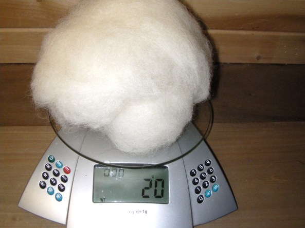 Weighing Wool Batting