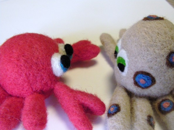 Felted Crab and Octopus
