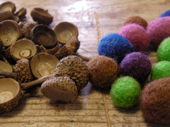Acorn Tops and Felted Balls