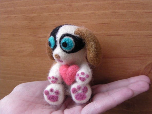 needle felted puppy with heart
