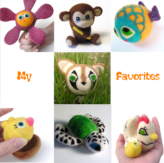needle felted flower, monkey, fish, raccoon, chick, turtle, and hen with chick