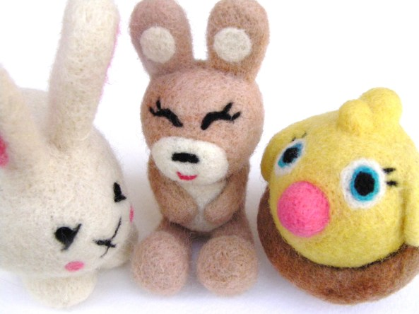 felted bunnies, rabbits, and chick