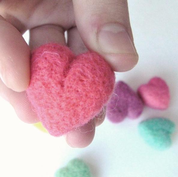 needle felt heart