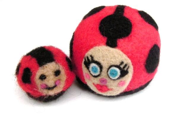 needle felted ladybirds