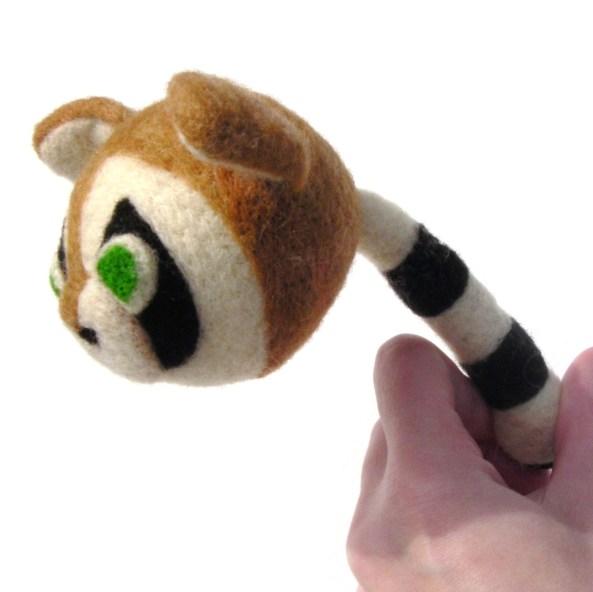 Needle felt Raccoon Toy