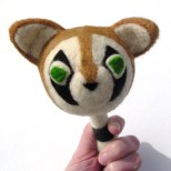 needle felting a raccoon