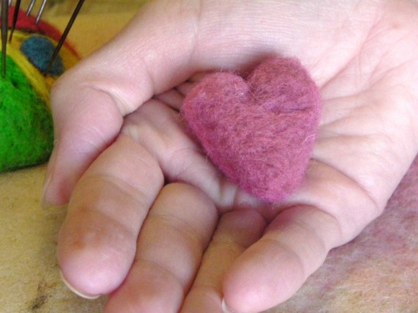 needle felting hearts