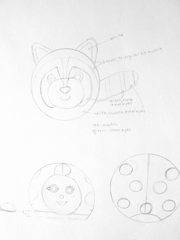 Sketch for a needle felted raccoon and ladybug