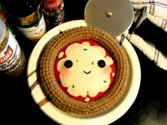 crocheted pizza play food