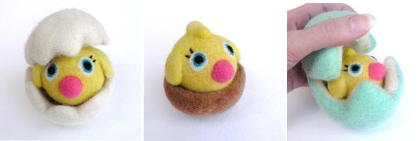 needle felted yellow chick, with wet felted eggs and nests