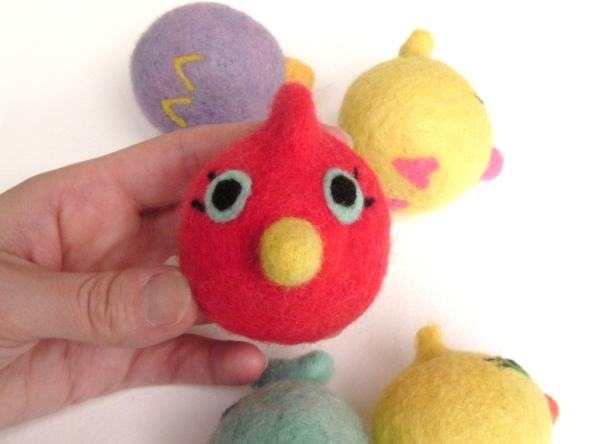 needle felted red baby bird