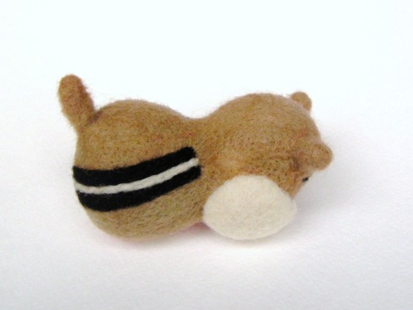 needle felt chipmunk with black and white stripes