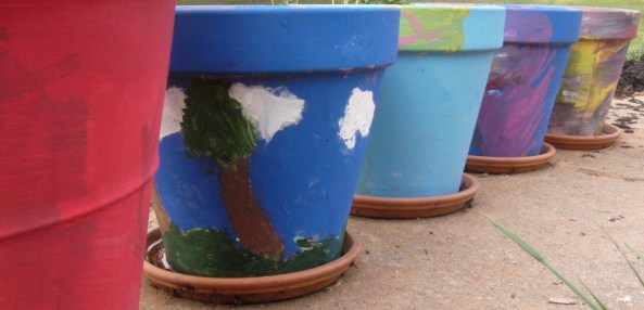 painted gardening containers