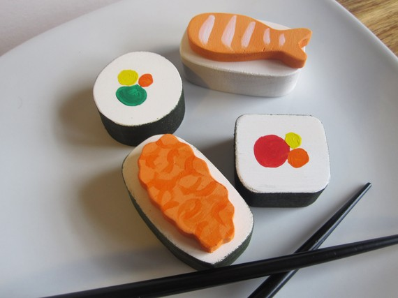 Wooden sushi set play food