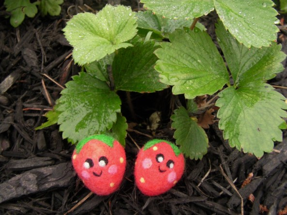 needle felted happy strawberries