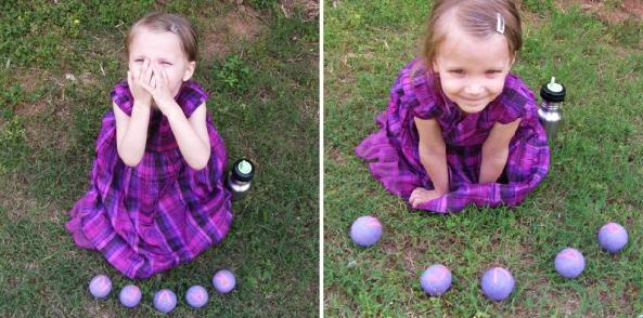 my daughter with her personalized felted balls