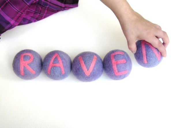felted balls for spelling practice