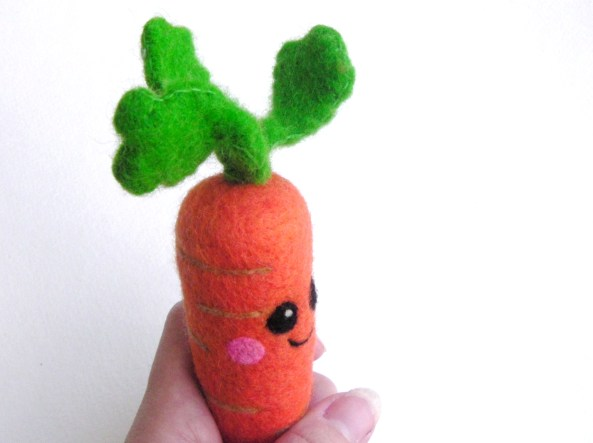 needle felt carrot with face