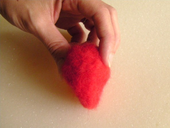 needle felting tutorial on strawberries