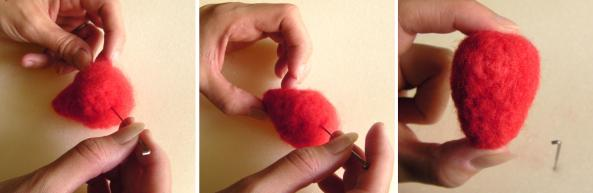 needle felting a strawberry
