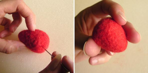 tutorial on needle felting a strawberry