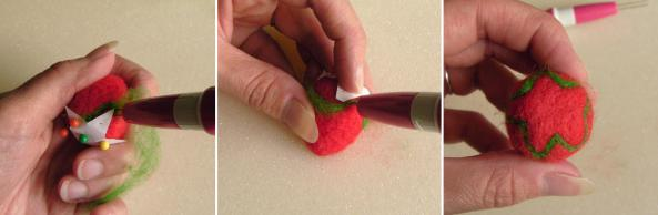making a needle felt strawberry