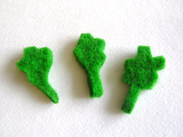 leaves cut out of felted wool