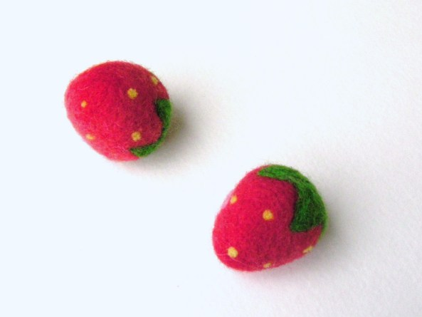 all natural needle felted strawberry toys