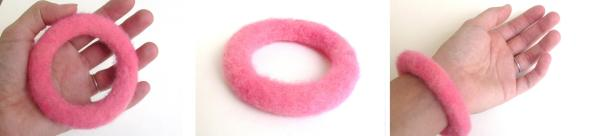 needle felted pink circle