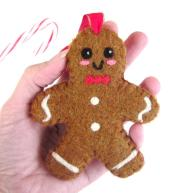 needle felt gingerbread man ornament