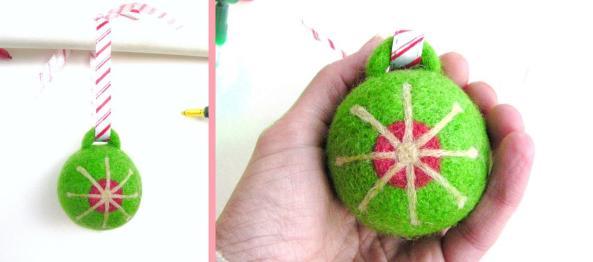 Needle Felt Ornament with Star Pattern