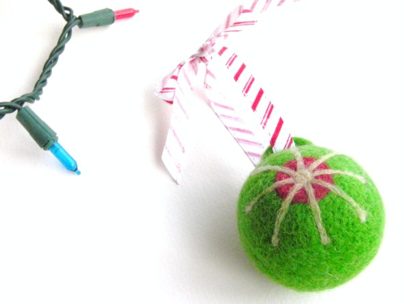 Attaching a Ribbon Hanger to a Felted Ornament