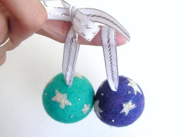 Adding a Ribbon Hanger to a Felted Ornament