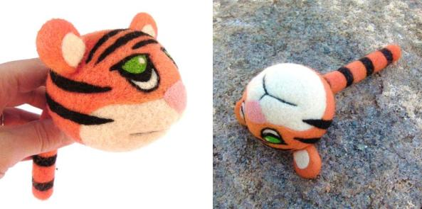 Needle Felted Ball Shaped Tiger with Tail