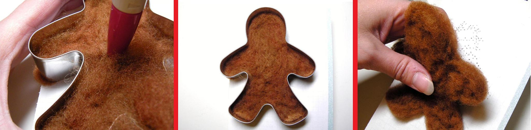 Using A Cookie Cutter To Needle Felt Christmas Ornaments Place The Felted Gingerbread  Man