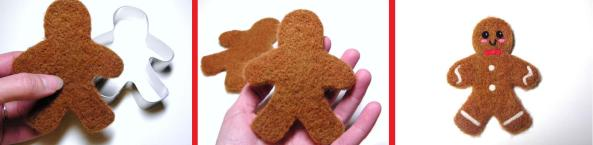 Needle Felting Gingerbread Man Ornaments
