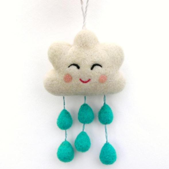 needle felted happy rain cloud mobile charm