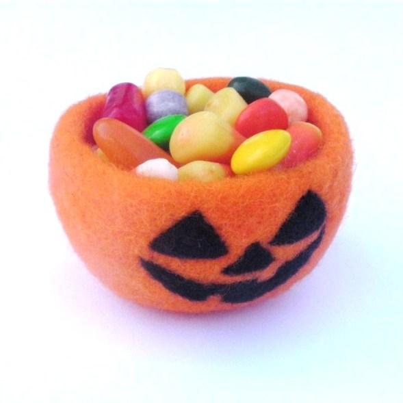 needle felted jack o lantern candy bowl