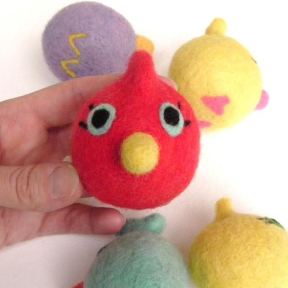 soft felt toy bird for spring and Easter