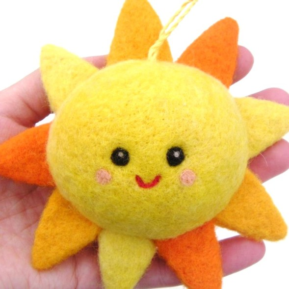 needle felted hanging sun