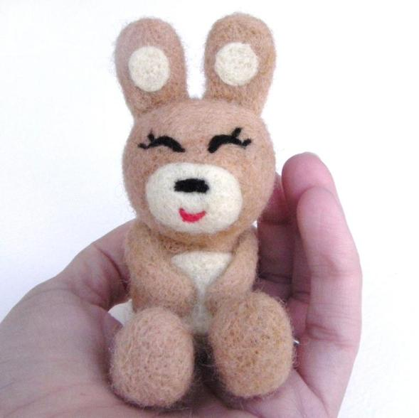 needle felted cute brown bunny rabbit for Easter