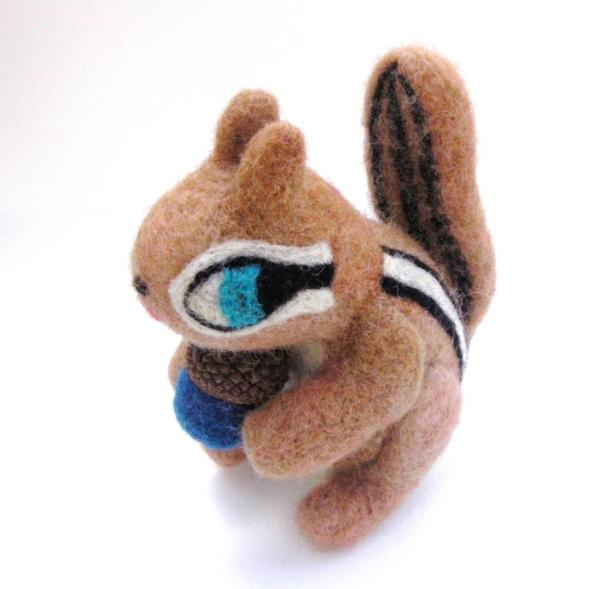 felted chipmunk with acorn