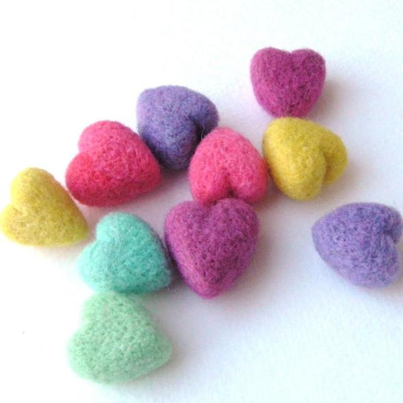 small, soft, needle felted hearts