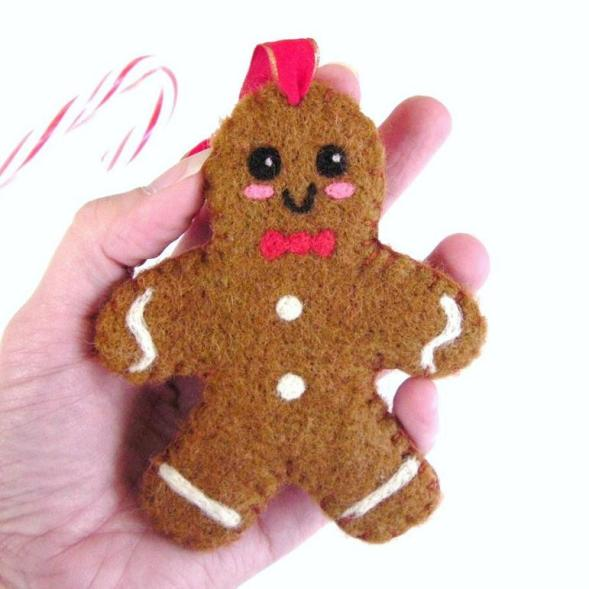 felted gingerbread man Christmas ornament