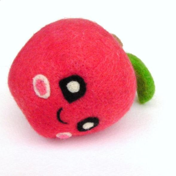 needle felt playfood apple