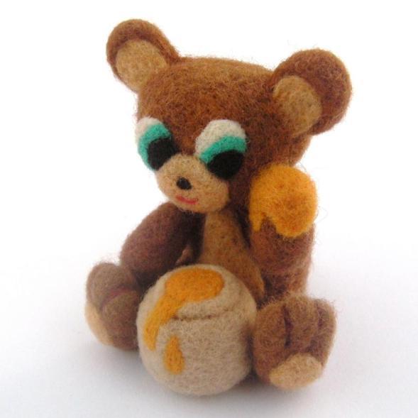 needle felt bear with honey pot