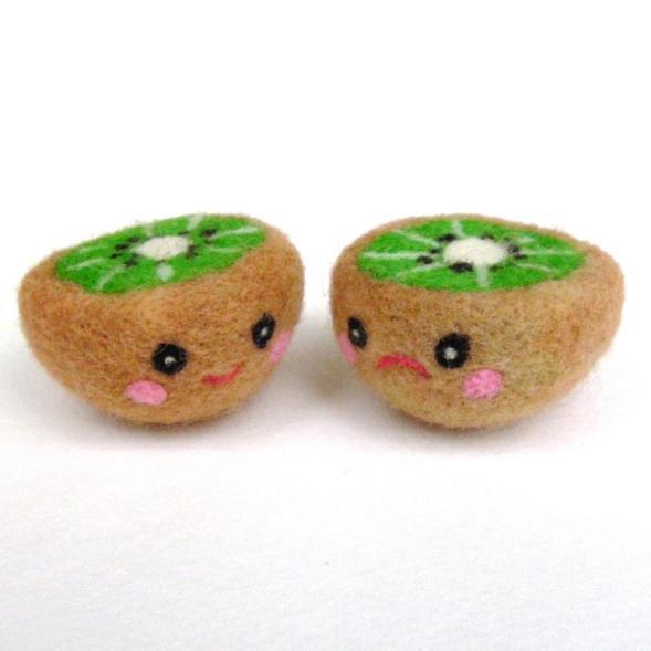 needle felted toy kiwi playfood